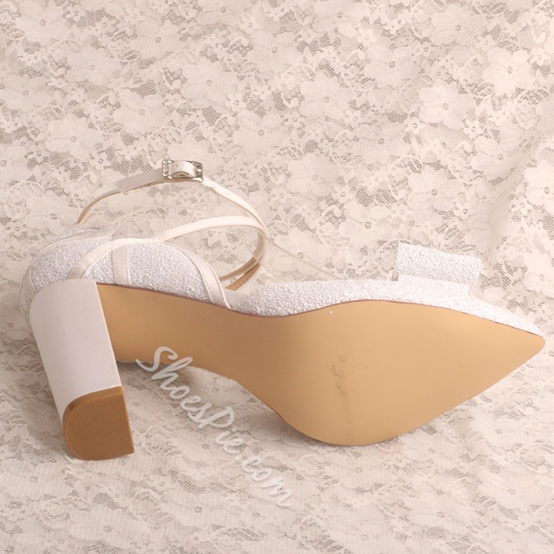 Shoespie Sexy Line-Style Buckle Chunky Heel Bow Wedding Sandals