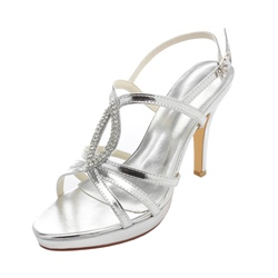 Shoespie Stylish Rhinestone Stiletto Heel Open Toe Slip-On Wedding Sandals