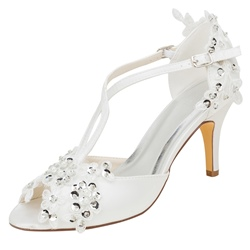 Shoespie Trendy Peep Toe Heel Covering Slip-On Floral Wedding Sandals