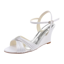 Shoespie Trendy Open Toe Line-Style Buckle Wedge Heel Wedding Sandals