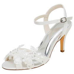 Shoespie Trendy Appliques Peep Toe Buckle Stiletto Heel Wedding Sandals
