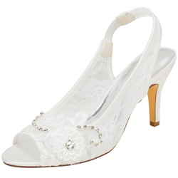 Shoespie Stylish Lace Rhinestone Peep Toe Stiletto Heel Slip-On Wedding Sandals