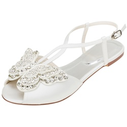 Shoespie Stylish Flat Heel Slip-On Peep Toe Butterfly Sandals