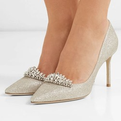Shoespie Sexy Rhinestone Pointed Toe Slip-On Low-Cut Upper Wedding Stiletto Heels