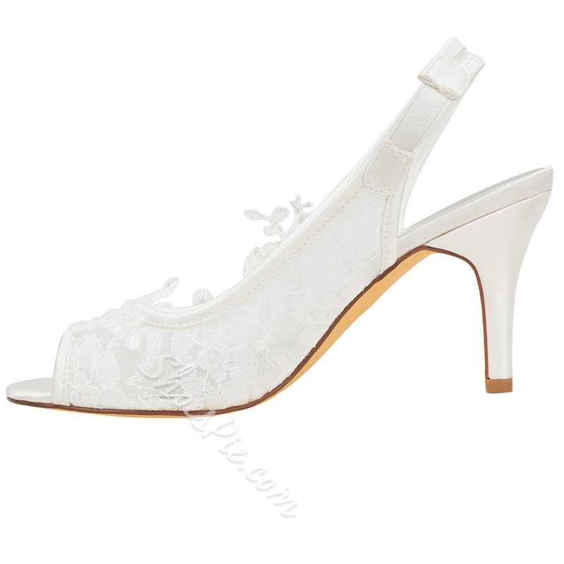 Shoespie Trendy Lace Appliques Slip-On Stiletto Heel Peep Toe Wedding Sandals