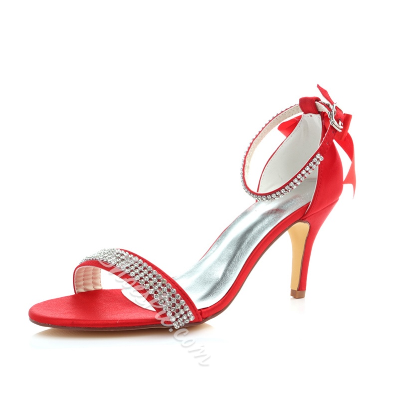 Shoespie Stylish Rhinestone Heel Covering Line-Style Buckle Wedding Sandals