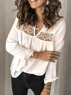 Sweet Mesh See-Though V-Neck Long Sleeve Women's Blouse