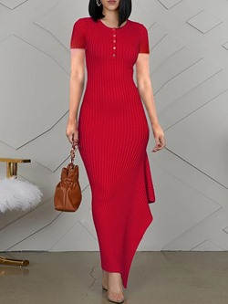 Red Short Sleeve Round Neck Asymmetric Falbala Floor-Length Women's Dress