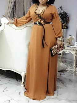Sexy V-Neck Leopard Print Long Sleeve High Waist Women's Dress