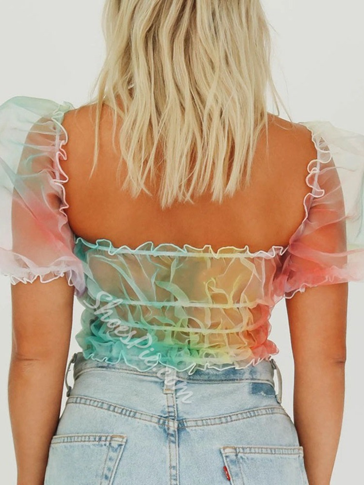 Sweet Colorful Mesh Puff Sleeve Off Shoulder Short Women's Blouse