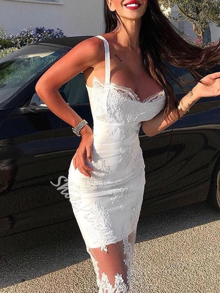 Sexy Floral Lace See-Through Sleeveless Women's Dress