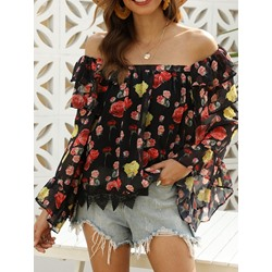 Sweet Floral Print Falbala Off Shoulder Flare Sleeve Women's Blouse