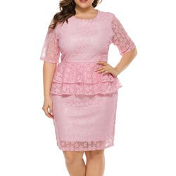 Plus Size Hollow Lace Falbala Half Sleeve Round Neck Women's Dress