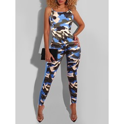 Camouflage Spaghetti Strap Pencil Pants Women's Jumpsuit