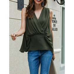 Casual V-Neck Pleated Sleeveless Women's Tank Top