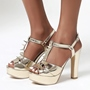 Shoespie Sexy Rivet T-Shaped Buckle Peep Toe Chunky Heel Casual Sandals