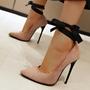 Shoespie Sexy Lace-Up Stiletto Heel Cross Strap Plain Thin Shoes