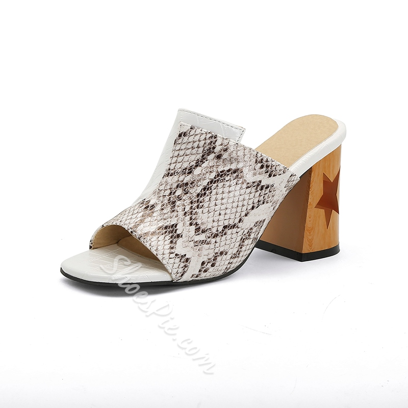 Shoespie Sexy Slip-On Thread Chunky Heel Rubber Slippers