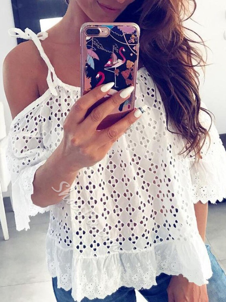Ladylike Hollow Lace Spaghetti Strap Cold Shoulder Women's Blouse