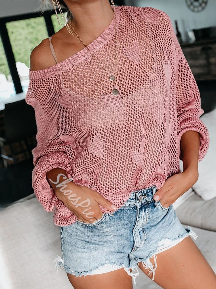 Sexy Hollow Loose Long Sleeve Women's Sweater