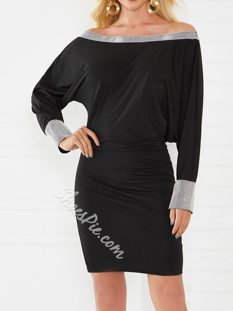 Patchwork Long Sleeve Off Shoulder Batwing Sleeve Women's Dress