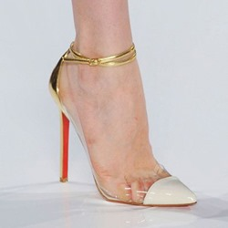 Shoespie Trendy Stiletto Heel Pointed Toe Line-Style Buckle Patchwork Thin Shoes