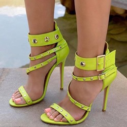 Shoespie Stylish Rivwt Heel Covering Buckle Stiletto Heel Sandals