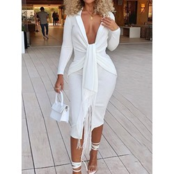Sexy V-Neck Pleated Fringe Split Long Sleeve Notched Lapel Women's Dress