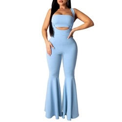 Plain Sexy Jumpsuit Bellbottoms Women's Two Piece Sets