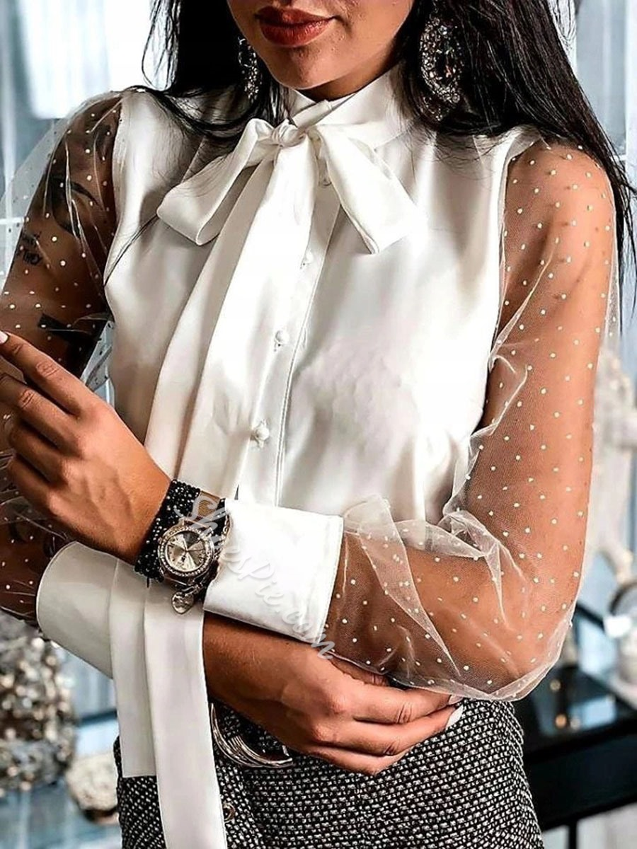 Sweet White Bow Collar Mesh Long Sleeve Single-Breasted Women's Blouse
