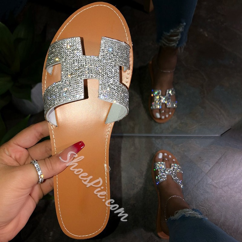 Shoespie Sexy Flat With Slip-On Rhinestone Summer Slippers