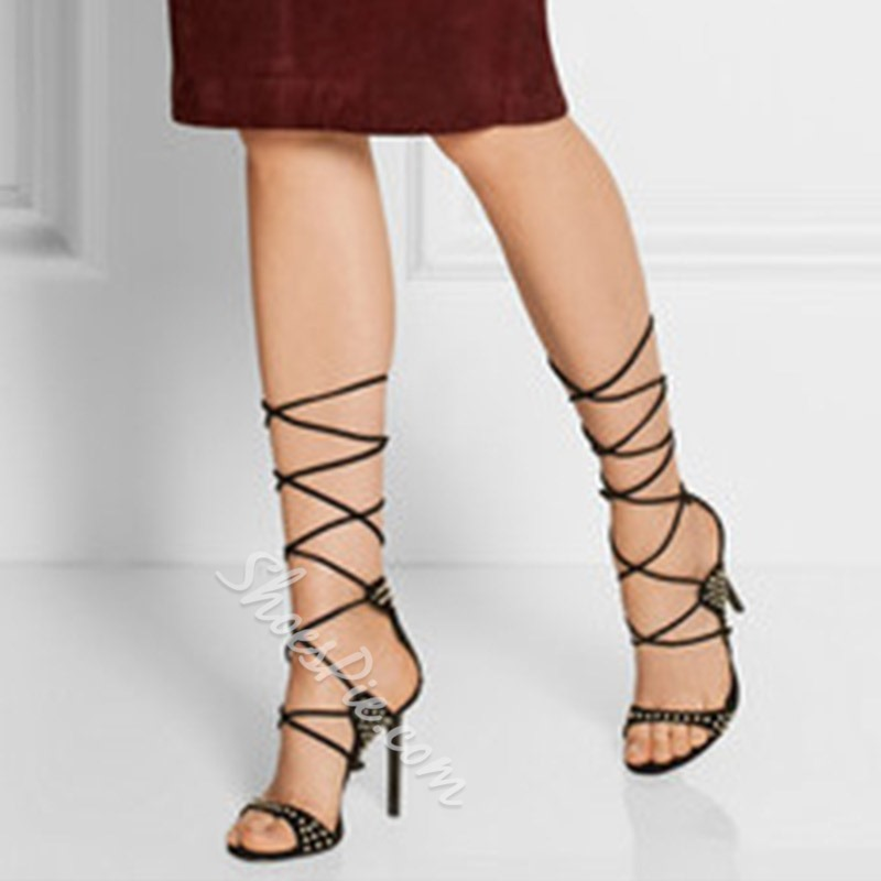 Shoespie Stylish Lace-Up Stiletto Heel Heel Covering Rivet Sandals
