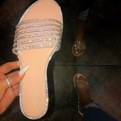 Shoespie Stylish Rhinestone Flip Flop Slip-On Plain Slippers