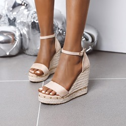 Shoespie Trendy Open Toe Wedge Heel Line-Style Buckle Thread Sandals