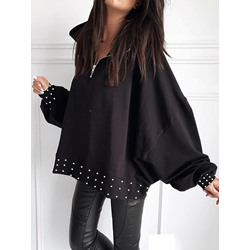 Stylish Zipper Lapel Batwing Sleeve Loose Women's Hoodie