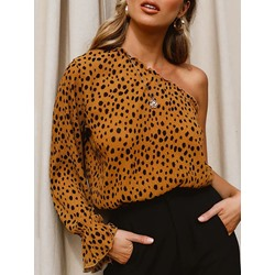 Leopard Print Oblique Collar Long Sleeve Women's Blouse