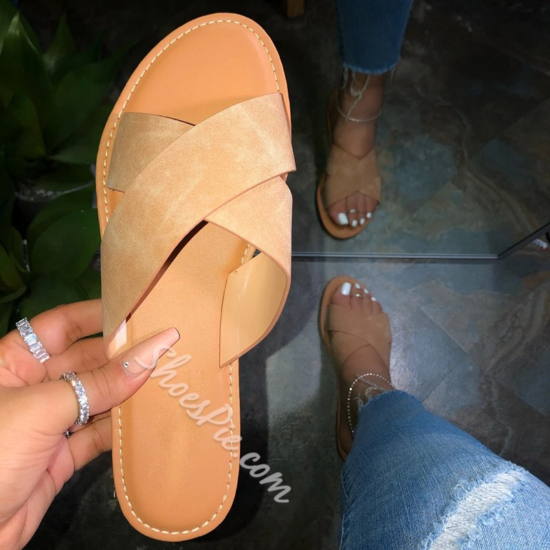 Shoespie Stylish Flat With Cross Slip-On Plain Slippers