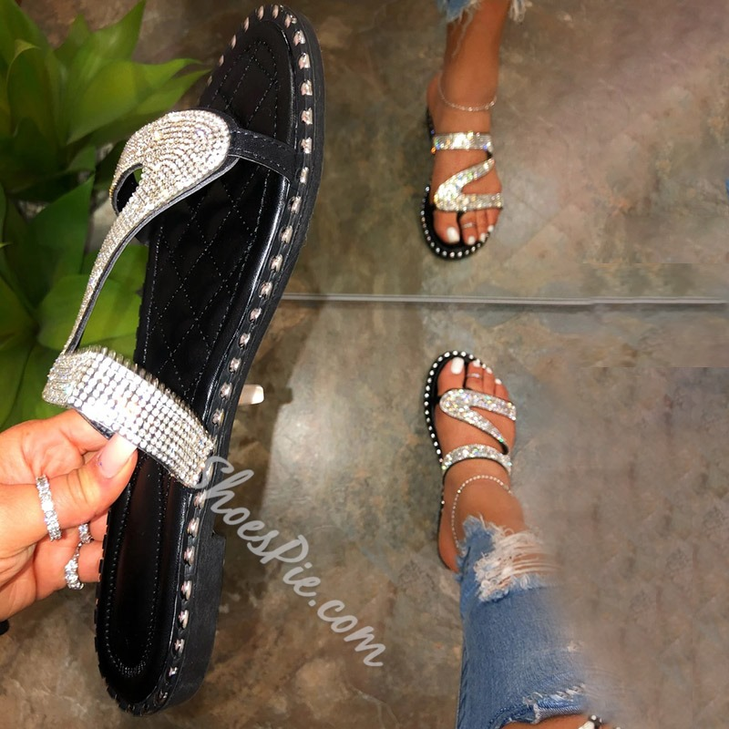 Shoespie Stylish Rhinestone Flat With Thong Summer Slippers