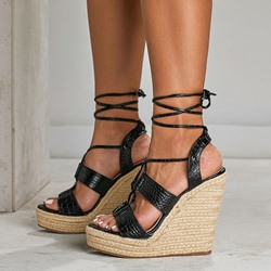 Shoespie Stylish Alligator Platform Lace-Up Open Toe Wedge Heel Sandals