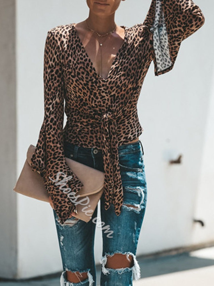 Casual V-Neck Leopard Flare Sleeve Women's Blouse