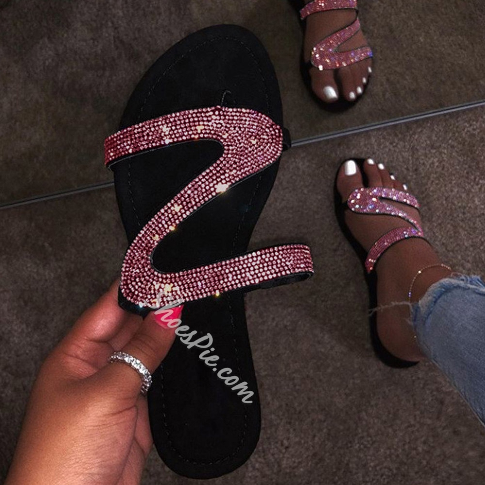 Shoespie Sexy Open Toe Slip-On Flat With Rhinestone Sandals