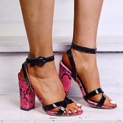 Shoespie Sexy Line-Style Buckle Chunky Heel Open Toe Thread Sandals