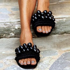 Shoespie Stylish Pearl Black Flat With Slip-On Summer Slippers