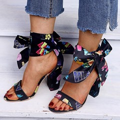 Shoespie Sexy Heel Covering Chunky Heel Lace-Up Print Sandals