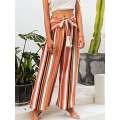 Lace-Up Loose Stripe Full Length Women's Casual Pants