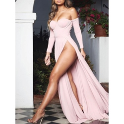 Off Shoulder Floor-Length Nine Points Sleeve Party/Cocktail Women's Dress