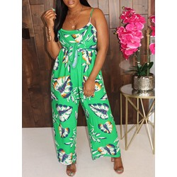Print Travel Look Full Length Loose Women's Jumpsuit