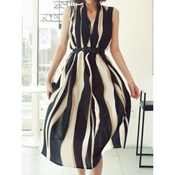 V-Neck Mid-Calf Sleeveless Summer Women's Dress