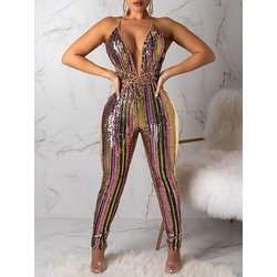 Full Length Sexy Sequins Skinny Women's Jumpsuit