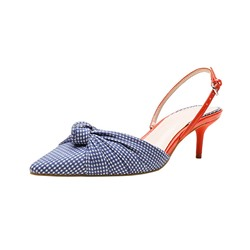 Shoespie Sexy Pointed Toe Slip-On Stiletto Heel Plaid Sandals